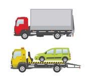 Φορτηγό και φορτηγό ρυμούλκησης που απομονώνονται στο άσπρο υπόβαθρο Στοκ εικόνα με δικαίωμα ελεύθερης χρήσης