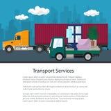 Φορτηγό και φορτηγό φορτίου με τα έπιπλα, φυλλάδιο απεικόνιση αποθεμάτων