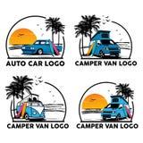 Φορτηγό και camper van logo καθορισμένο διάνυσμα απεικόνισης απεικόνιση αποθεμάτων