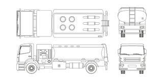 Φορτηγό καυσίμων αέρα στο ύφος περιλήψεων Μπροστινή, δευτερεύουσα, τοπ και πίσω άποψη Συντήρηση των αεροσκαφών Μεταφορά αεροδρομί στοκ εικόνα