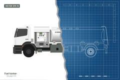 Φορτηγό καυσίμων αέρα στο ύφος περιλήψεων Μπροστινή, δευτερεύουσα, τοπ και πίσω άποψη Συντήρηση των αεροσκαφών Μεταφορά αεροδρομί στοκ φωτογραφία με δικαίωμα ελεύθερης χρήσης