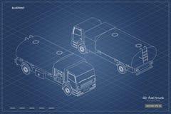 Φορτηγό καυσίμων αέρα στο isometric ύφος Βιομηχανικό σχεδιάγραμμα περιλήψεων Συντήρηση των αεροσκαφών Βυτιοφόρο για το airplanene στοκ φωτογραφίες