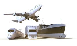 Φορτηγό μεταφορών και διοικητικών μεριμνών, τραίνο, βάρκα και αεροπλάνο στο υπόβαθρο απομονώσεων Στοκ Φωτογραφία