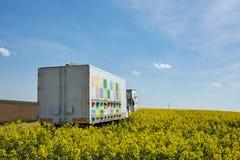 Φορτηγό με τις κυψέλες μελισσών σε έναν τομέα βιασμών στοκ φωτογραφίες