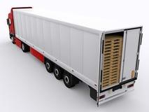 Φορτηγό με το ανοικτό ρυμουλκό Στοκ φωτογραφία με δικαίωμα ελεύθερης χρήσης
