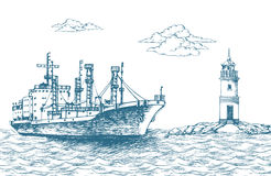 Φορτηγό πλοίο, σημαιοφόρος μπροστινός Στοκ φωτογραφίες με δικαίωμα ελεύθερης χρήσης