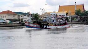 Φορτηγό πλοίο στη θάλασσα, Samut sakorn Ταϊλάνδη απόθεμα βίντεο