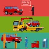 Φορτηγό ρυμούλκησης που μεταφέρει μια σπασμένη μηχανή στην υπηρεσία αυτοκινήτων διανυσματική απεικόνιση