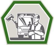 Φορτηγό σκουπιδιών συλλεκτών απορριμάτων αναδρομικό Στοκ εικόνες με δικαίωμα ελεύθερης χρήσης