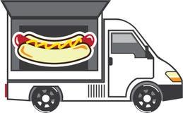 Φορτηγό τομέα εστιάσεως Van vector Food Στοκ Εικόνες