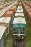 Φορτηγό τρένο με τα βαγόνια εμπορευμάτων δεξαμενών που κινούνται στη δασική πράσινη ατμομηχανή φορτίου diesel στοκ φωτογραφία με δικαίωμα ελεύθερης χρήσης