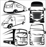 Φορτηγό, τραίνο, Van symbol σύνολο Στοκ φωτογραφίες με δικαίωμα ελεύθερης χρήσης