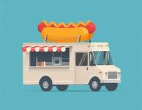 Φορτηγό τροφίμων οδών χοτ-ντογκ διάνυσμα Ελεύθερη απεικόνιση δικαιώματος