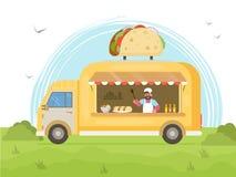 Φορτηγό τροφίμων Taco Έννοια φορτηγών τροφίμων οδών Στοκ εικόνα με δικαίωμα ελεύθερης χρήσης