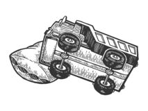 Φορτηγό φορτηγών ύπνου στο διάνυσμα χάραξης μαξιλαριών ελεύθερη απεικόνιση δικαιώματος