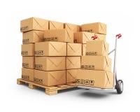 Φορτηγό χεριών με τα κουτιά από χαρτόνι. εικονίδιο που απομονώνεται τρισδιάστατο απεικόνιση αποθεμάτων