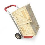 Φορτηγό χεριών με το ξύλινο κιβώτιο η παράδοση έννοιας απομόνωσε το λευκό τρισδιάστατος δώστε Στοκ φωτογραφία με δικαίωμα ελεύθερης χρήσης
