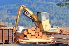 Φορτωτής κούτσουρων στο ναυπηγείο ξυλείας στοκ εικόνα με δικαίωμα ελεύθερης χρήσης