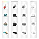 Φορτωτής, lap-top, που στέλνει από τη θάλασσα, φορτηγό Καθορισμένα εικονίδια συλλογής διοικητικών μεριμνών και παράδοσης στη μαύρ διανυσματική απεικόνιση