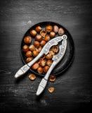 Φουντούκια με τον καρυοθραύστης στο παλαιό πιάτο Στοκ εικόνα με δικαίωμα ελεύθερης χρήσης