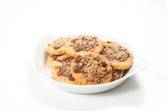 Φουντούκι και μπισκότα και κέικ σοκολάτας Στοκ Εικόνα