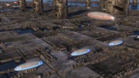 Φουτουριστικά πόλη και διαστημόπλοια στοκ εικόνες