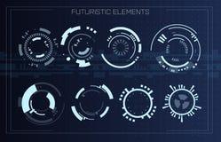 Φουτουριστικές σύγχρονες μορφές κύκλων ενδιάμεσων με τον χρήστη τεχνολογίας Στοιχεία HUD Φουτουριστικό αφηρημένο σύνολο του Sci F διανυσματική απεικόνιση