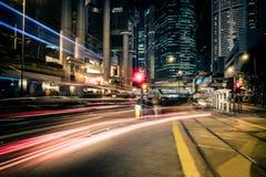 Φουτουριστική άποψη εικονικής παράστασης πόλης νύχτας Χογκ Κογκ Στοκ Φωτογραφία
