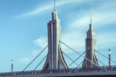 Φουτουριστική γέφυρα στο Πεκίνο, Κίνα στοκ εικόνες