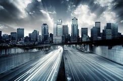 Φουτουριστική εικονική παράσταση πόλης στοκ φωτογραφίες με δικαίωμα ελεύθερης χρήσης