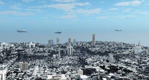 φουτουριστική επιστήμη μυθιστοριογραφίας εικονικής παράστασης πόλης διανυσματική απεικόνιση
