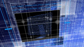 Φουτουριστική ζωτικότητα που παρουσιάζει τις οθόνες και μητρική κάρτα υπολογιστών ελεύθερη απεικόνιση δικαιώματος