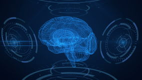 φουτουριστική διαπροσωπεία Εγκέφαλος, HUD και πλέγμα διανυσματική απεικόνιση