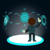 φουτουριστική διαπροσωπεία Κουμπί ωθήσεων ατόμων διανυσματική απεικόνιση