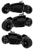 Φουτουριστική μοτοσικλέτα με διάνυσμα τεσσάρων το στενός-συνδεμένο ροδών ελεύθερη απεικόνιση δικαιώματος