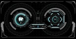 Φουτουριστική οθόνη τεχνολογίας hud Τακτική άποψη Sci Fi VR Dislpay HUD UI Φουτουριστικό σχέδιο επίδειξης VR Head-up φουτουριστικ Στοκ Εικόνες