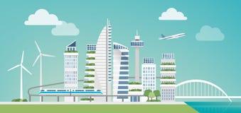 Φουτουριστική πράσινη πόλη διανυσματική απεικόνιση