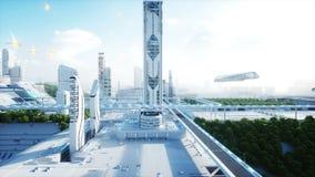 Φουτουριστική πόλη, κωμόπολη Η έννοια του μέλλοντος εναέρια όψη Ρεαλιστική 4K ζωτικότητα διανυσματική απεικόνιση
