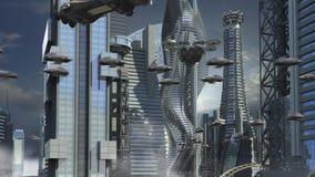 Φουτουριστική πόλη με τους ουρανοξύστες και τα hoovering αεροσκάφη διανυσματική απεικόνιση
