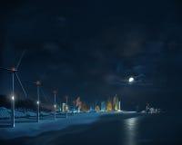 Φουτουριστική πόλη. Νύχτα Στοκ Φωτογραφία