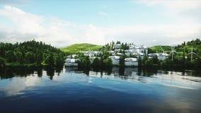 Φουτουριστική πόλη, χωριό Η έννοια του μέλλοντος εναέρια όψη Ρεαλιστική 4K ζωτικότητα ελεύθερη απεικόνιση δικαιώματος
