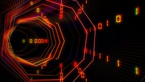 Φουτουριστική σήραγγα κυβερνοχώρου τεχνολογίας με την απεικόνιση ρευμάτων πληροφοριών διανυσματική απεικόνιση