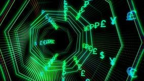 Φουτουριστική σήραγγα κυβερνοχώρου τεχνολογίας με την απεικόνιση ρευμάτων νομίσματος ελεύθερη απεικόνιση δικαιώματος