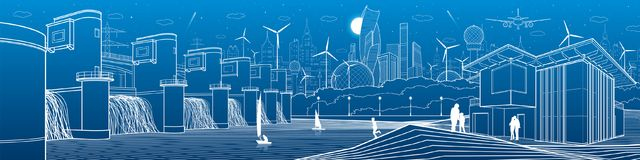 Φουτουριστική υποδομή ζωής πόλεων Βιομηχανικό πανόραμα ενεργειακής απεικόνισης Εγκαταστάσεις υδρο παραγωγής ενέργειας Φράγμα ποτα ελεύθερη απεικόνιση δικαιώματος