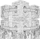 Φουτουριστική Megalopolis δομή πόλεων Στοκ Φωτογραφία