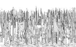 Φουτουριστική Megalopolis πόλη του διανύσματος ουρανοξυστών Στοκ Εικόνα