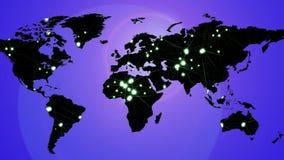 Φουτουριστικός αφηρημένος χάρτης με τα θολωμένα ελαφριά μόρια κόμβων απόθεμα βίντεο