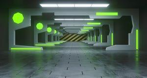 Φουτουριστικός διάδρομος διαστημικών σκαφών του Sci Fi με τα οδηγημένα φω'τα και Conret διανυσματική απεικόνιση