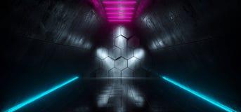 Φουτουριστικός διάδρομος σκαφών του Sci Fi με τα Hexagon φω'τα Refl πυράκτωσης απεικόνιση αποθεμάτων