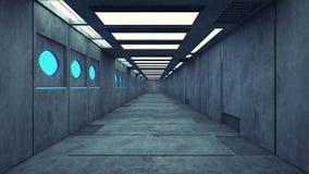 Φουτουριστικός κενός εσωτερικός διάδρομος Στοκ εικόνα με δικαίωμα ελεύθερης χρήσης